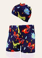 Комплект для плавания - плавки шорты и шапочка, Динозавр, фото 1
