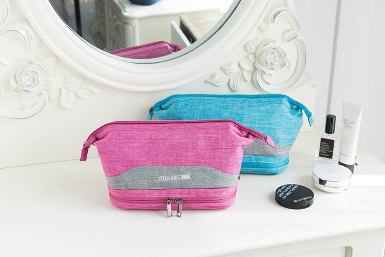 Косметичка двухэтажная Travel Double розовая+серая вставка 01036/04