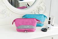 Косметичка двухэтажная Travel Double розовая+серая вставка 01036/04, фото 1