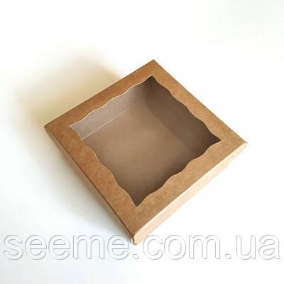 Коробка из крафт картона с окошком 120x120x35 мм.