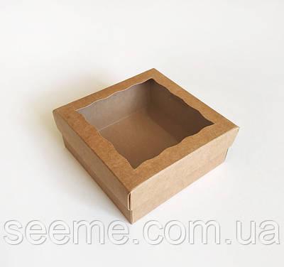 Коробка из крафт картона с окошком 120x120x50 мм.