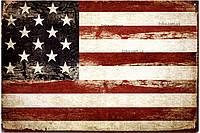 """Металлическая / ретро табличка """"Флаг Соединённых Штатов Америки"""""""