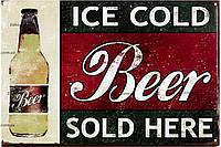 """Металлическая / ретро табличка """"Пиво (Винтажный Стиль) / Beer (Vintage Style)"""""""