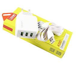 Зарядное устройство LDNIO, White, 3xUSB, 3.1A + кабель USB - microUSB (A3301), зарядка, фото 3