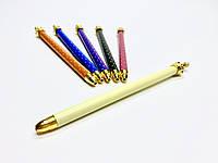 Оригинальная ручка с короной в горошек лимонная