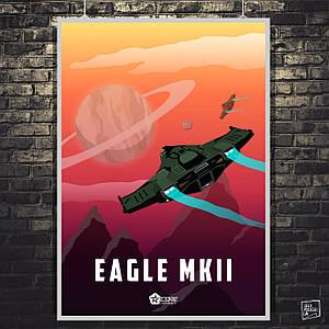 "Постер ""Eagle MK2"". Elite:Dangerous, космический корабль. Размер 60x43см (A2). Глянцевая бумага"