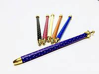 Оригинальна ручка с короной в горошек»фиолетовая
