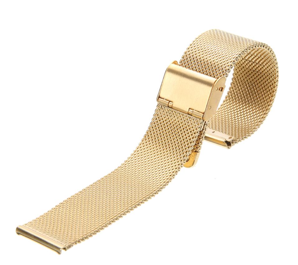 Браслет для часов из нержавеющей стали, миланский стиль, литой, золотистый. 20 мм