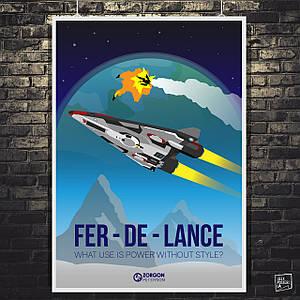 """Постер """"Fer-de-lance"""". Elite:Dangerous, космический корабль. Размер 60x43см (A2). Глянцевая бумага"""
