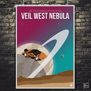 """Постер """"Veil West Nebula"""". Elite:Dangerous. Размер 60x43см (A2). Глянцевая бумага"""