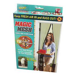 Антимоскитная сетка на магнитах Magic Mesh - чёрная, на двери