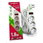 Сетевой фильтр Maxxter SPM3-G-6G 1.8 м кабель 3 розетки (серый)