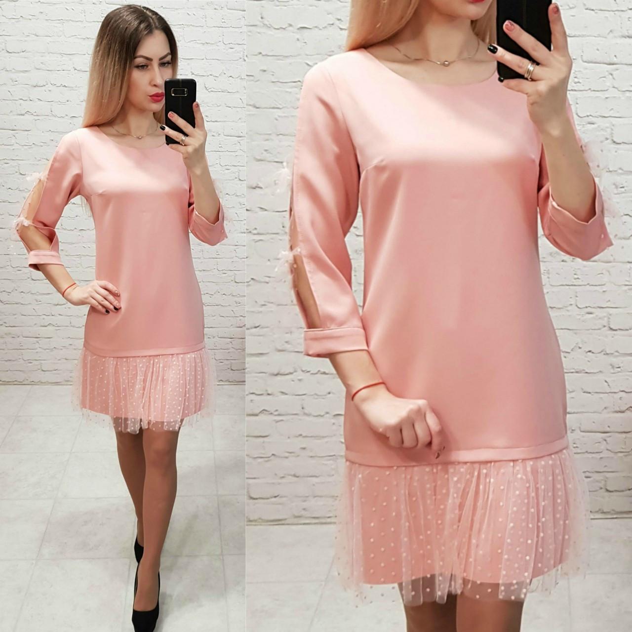 Платье женское, креп+сетка, модель 154, цвет - пудра