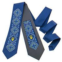 Мужской вышитый галстук с трезубом №820