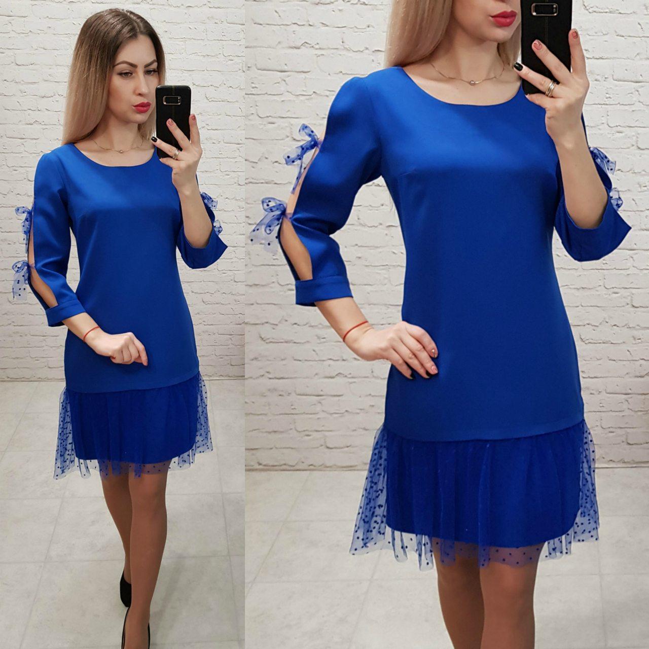 Платье женское, креп+сетка, модель 154, цвет - электрик