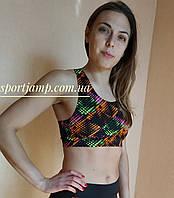 """Одежда для фитнеса,йоги,аэробики. Топ вставка """"кубиками"""""""