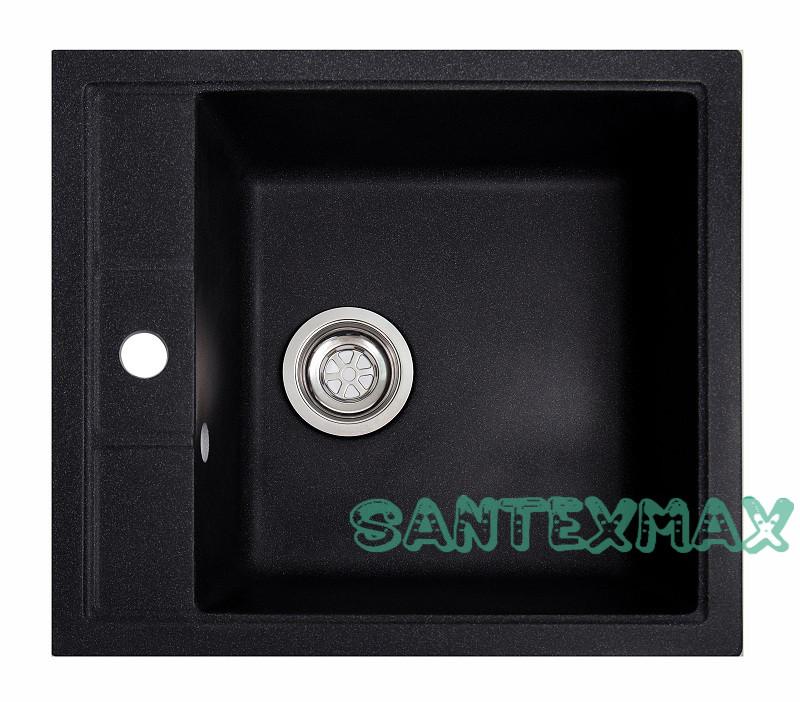 Плита гранітна мийка Solid Бриз чорний 51.5x46 Безкоштовна доставка