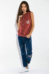 Жилетка женская, стильная с капюшоном 32P054 (Бордо)