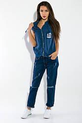 Жилетка женская, стильная с капюшоном 32P054 (Синий)