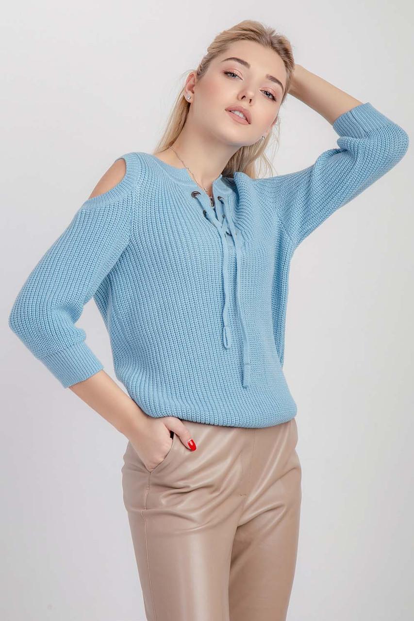 Молодежный женский джемпер прямого силуэта голубой