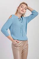 Молодежный женский джемпер прямого силуэта голубой, фото 1