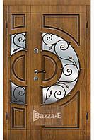 Двери входные двуполые с ковкой и стеклом, в Патине. АРМА 304-№4-4 . Входные двери для частного дома 120 см