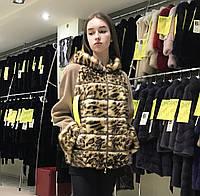 Женская куртка меховая, пальто, полупальто с мехом леопарда, автоледи леопардовая шуба с капюшоном