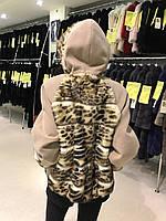 Женское меховое пальто, полупальто с мехом леопарда, автоледи леопардовая шуба с капюшоном