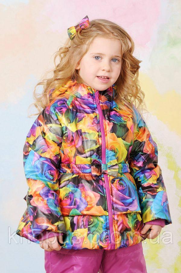 Демисезонная куртка  для девочки, яркие розы, размеры 86-104, Модный карапуз