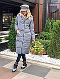 Женское пальто удлиненное на кнопках с карманами плащевка Canada утеплитель силикон 200 размер:42,44,46, фото 5