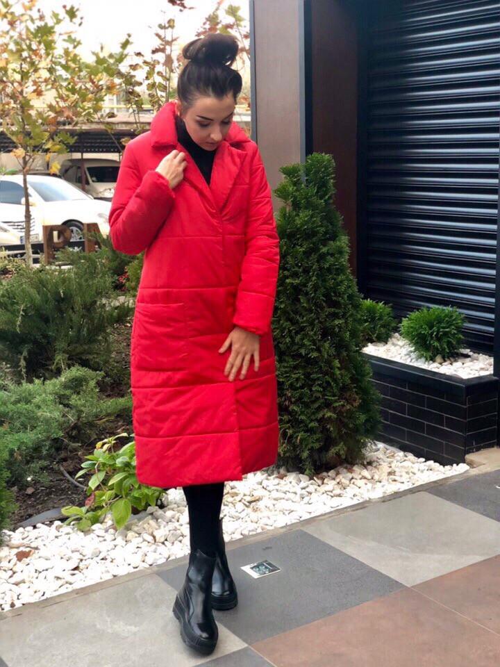 Женское пальто удлиненное на кнопках с карманами плащевка Canada утеплитель силикон 200 размер:42,44,46