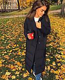 Женское пальто удлиненное на кнопках с карманами плащевка Canada утеплитель силикон 200 размер:42,44,46, фото 9