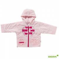 """Демисезонная курточка на флисе """"Сердечки"""" розовая, JANMAR, Польша, размер 80"""