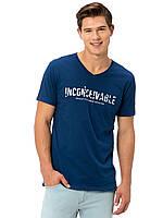 Синяя мужская футболка Lc Waikiki / Лс Вайкики с надписью Inconceivable