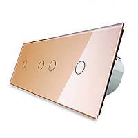 Сенсорный выключатель Livolo 1-2-1, цвет золото, стекло (VL-C701/C702/C701-13), фото 1
