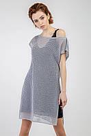 Необычный комплект-двойка платья-майка с джемпером стальной