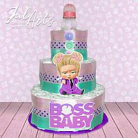 """Торт из подгузников """"Baby Boss"""" девочка"""