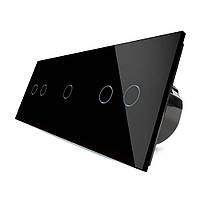 Сенсорный выключатель Livolo 2-1-2, цвет черный, стекло (VL-C702/C701/C702-12), фото 1