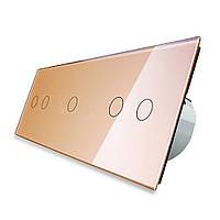 Сенсорный выключатель Livolo 2-1-2, цвет золото, стекло (VL-C702/C701/C702-13), фото 1
