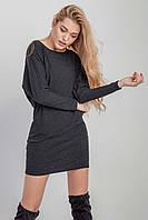 Короткое женское платье графитового цвета