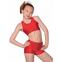 Спортивные детские шорты для танцев и гимнастики и фитнеса Красный