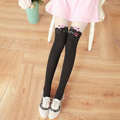 Колготки капроновые на девочку с имитацией чулка черные Hello Kitty 3-7 лет