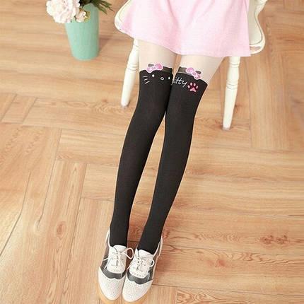 Колготки капроновые на девочку с имитацией чулка черные Hello Kitty 3-7 лет, фото 2