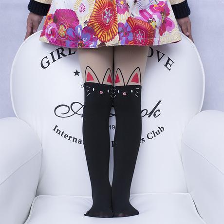Колготки капроновые на девочку с имитацией чулка черные Котик 3-7 лет