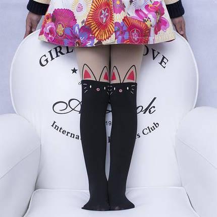 Колготки капроновые на девочку с имитацией чулка черные Котик 3-7 лет, фото 2