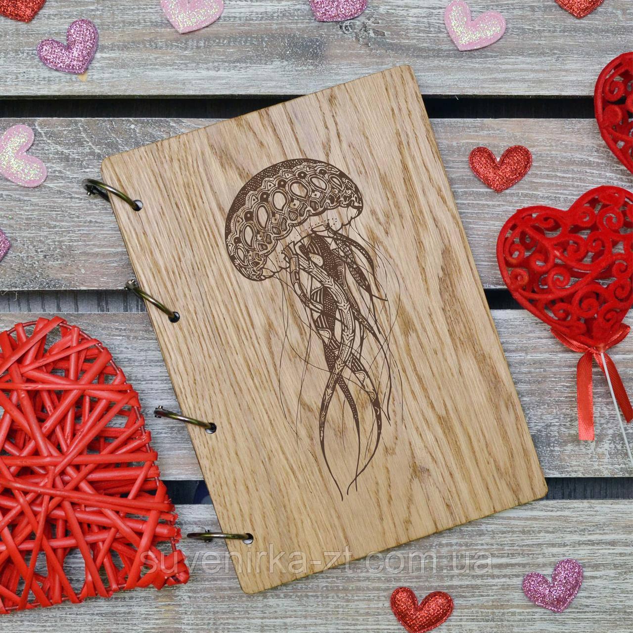 Блокноты с деревянной обложкой. На кольцах. Медуза. А5. (А00615)