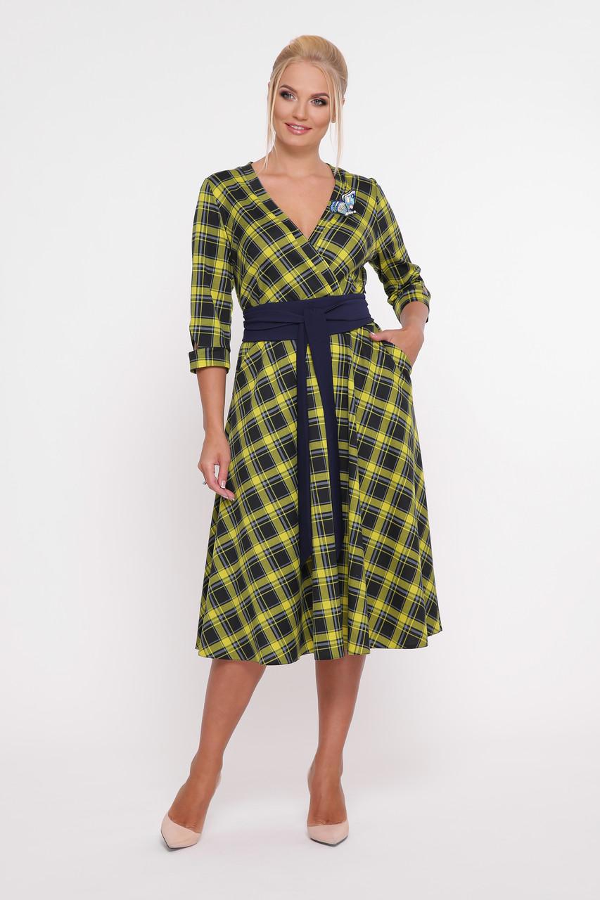 d5aa3208f5c Красивое платье с поясом для полных девушек Луиза горчица - V Mode