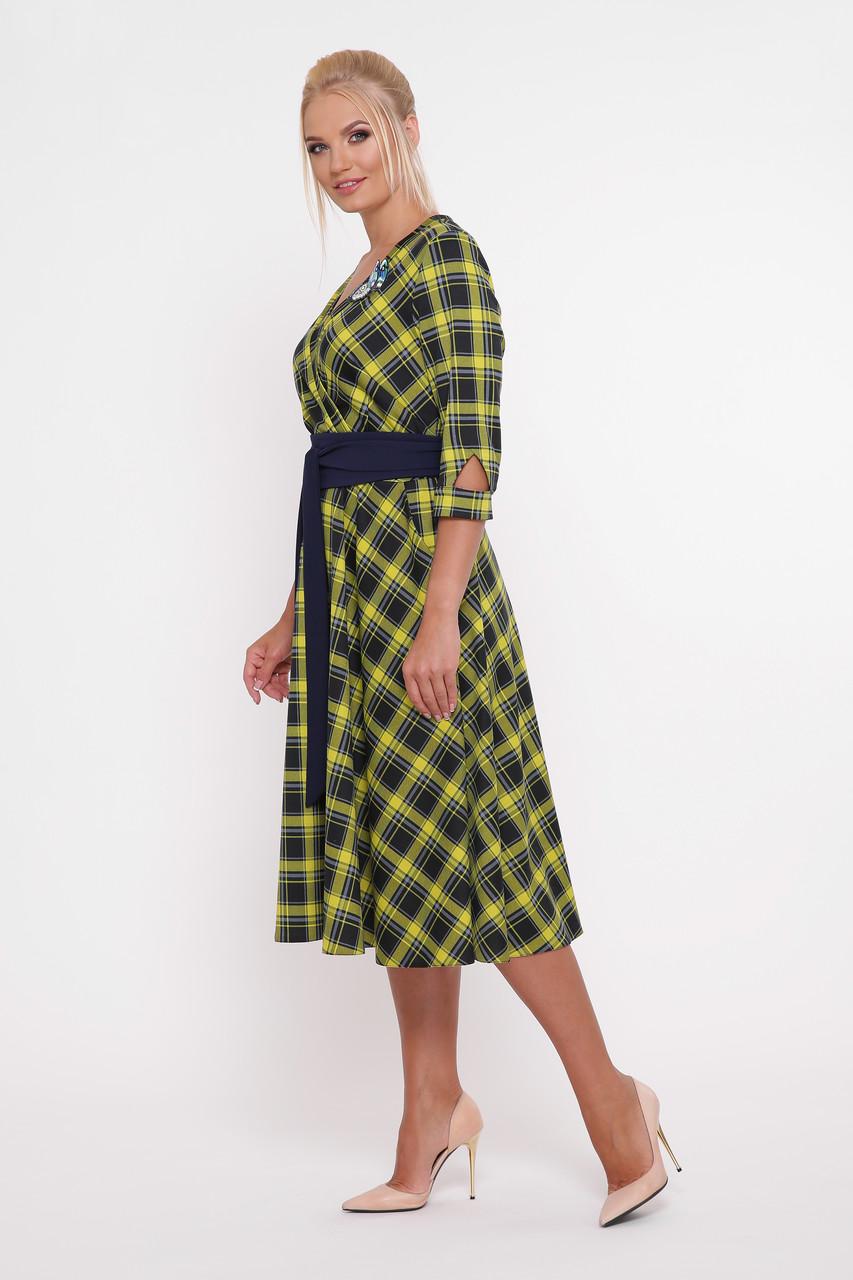 197f0503f9e Красивое платье с поясом для полных девушек Луиза горчица