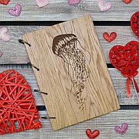 Блокноты с деревянной обложкой. На кольцах. Медуза. А5.(А00616)