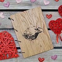 Блокноты с деревянной обложкой. На кольцах. Орел. А5. (А00618)